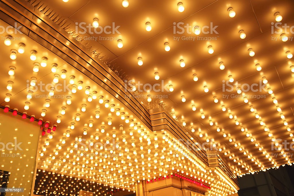 Theater Entrance Marquee Lights stock photo