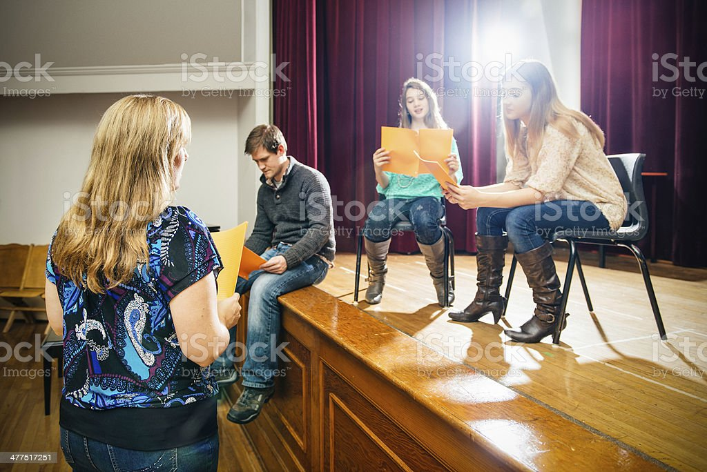 Theater Group Rehearsing royalty-free stock photo