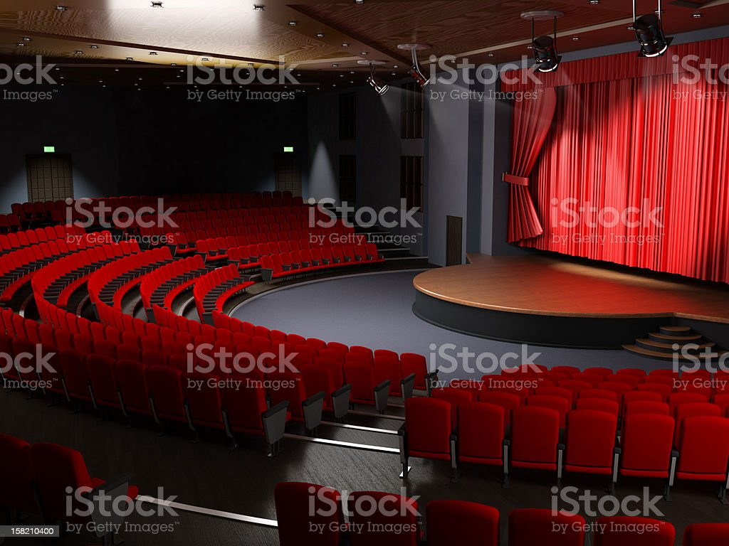 Theater hall with empty seats stock photo