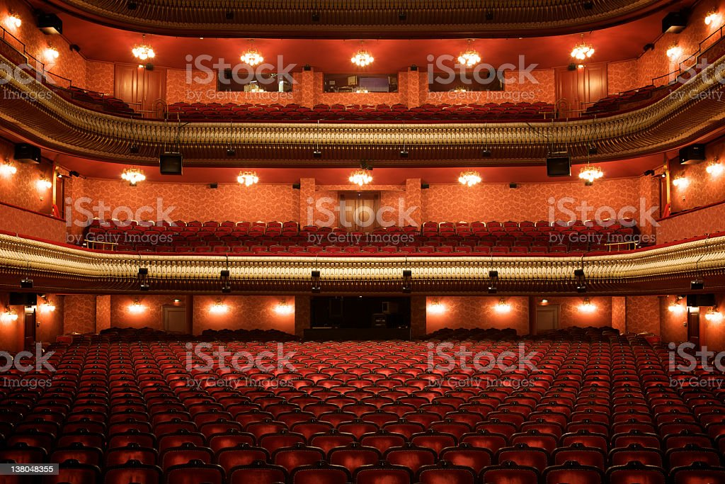 Theater interior: empty classical theater stock photo