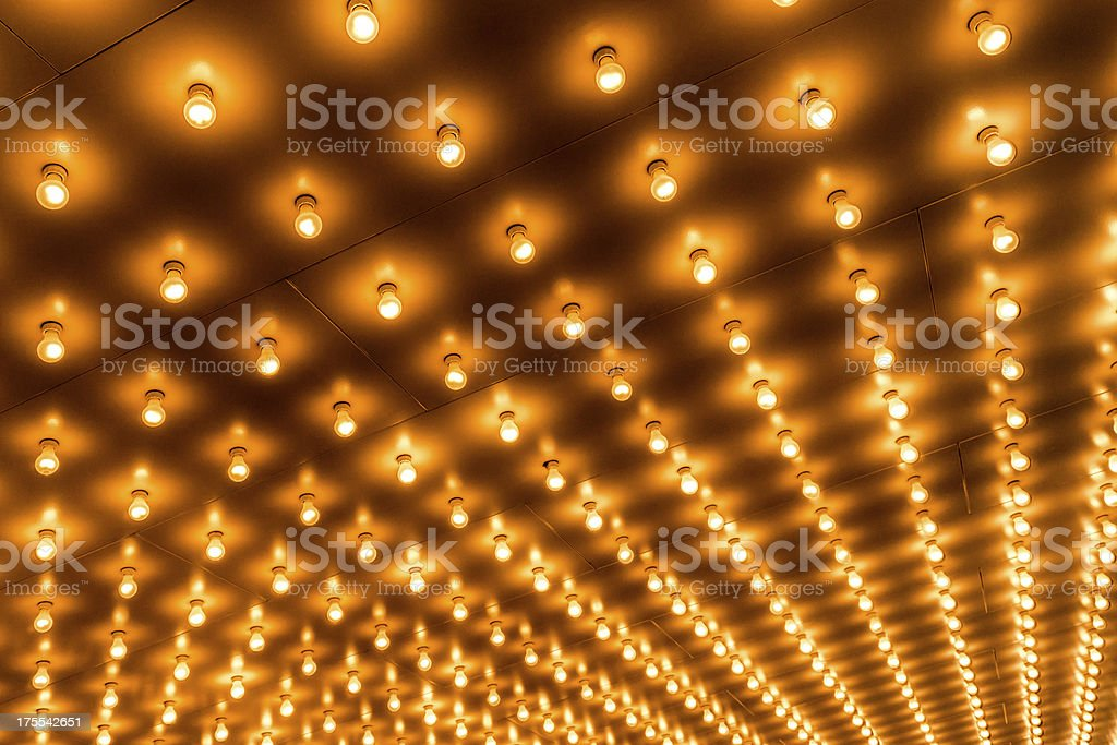Theater Marquee Lights in Rows stock photo