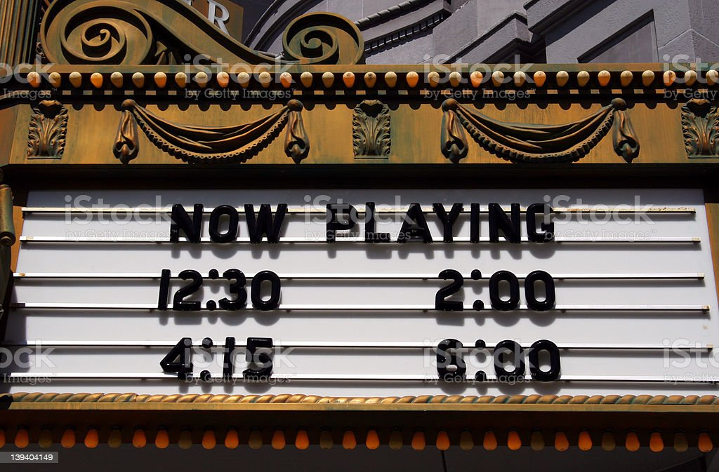 Theater Marquee, Now Playing stock photo