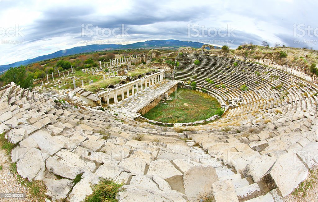 Theater of ancient greek city of Aphrodisia, Turkey stock photo