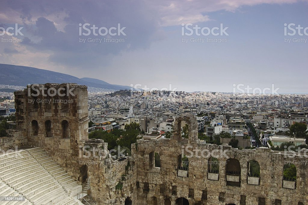 Theater of Herodes Atticus and Athens Skyline royalty-free stock photo