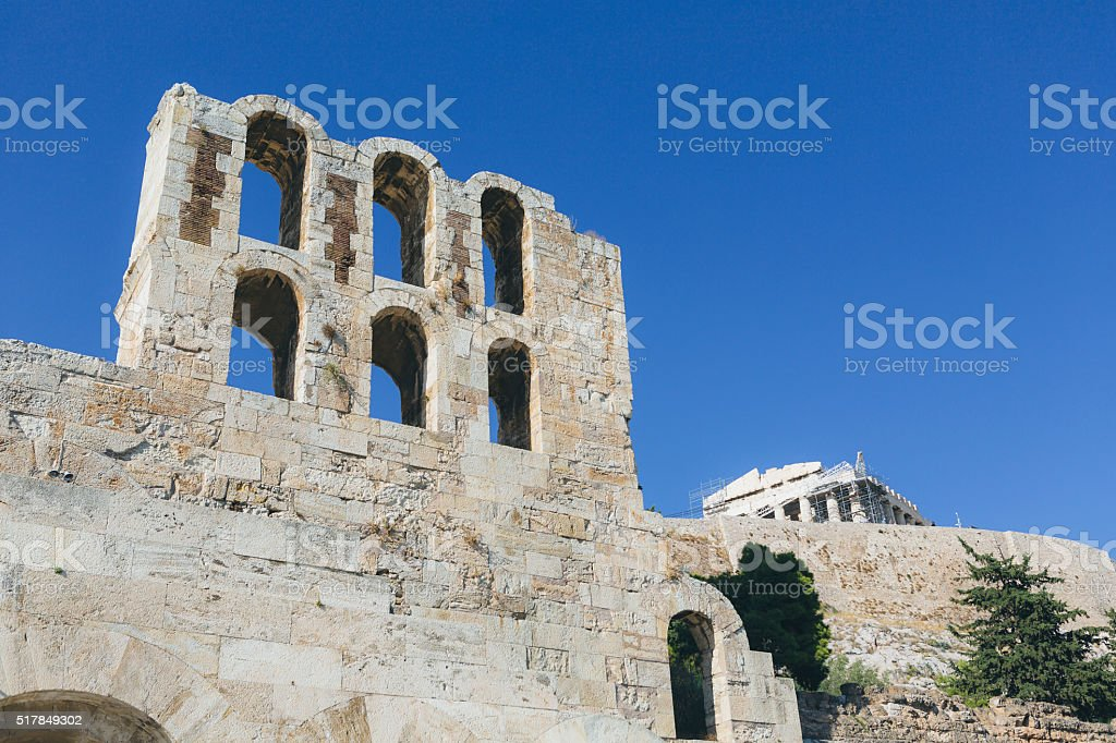 Theater Of Herodes Atticus over Acropolis in Athens stock photo