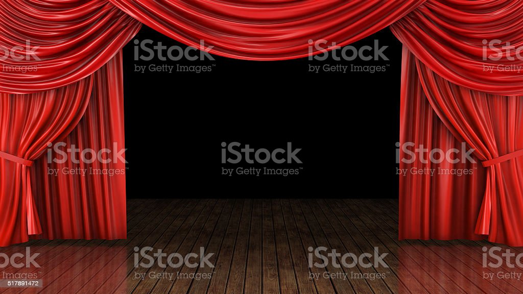 Theater stage - red curtain stock photo