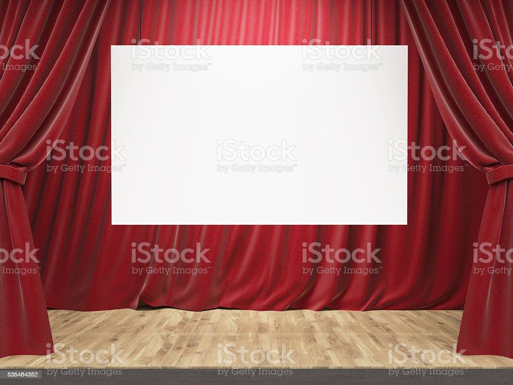 Theater stage with banner stock photo