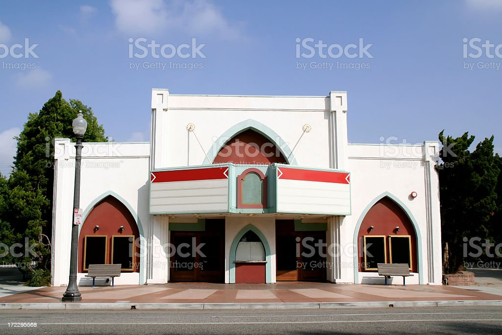 Theater with blank marquee. stock photo