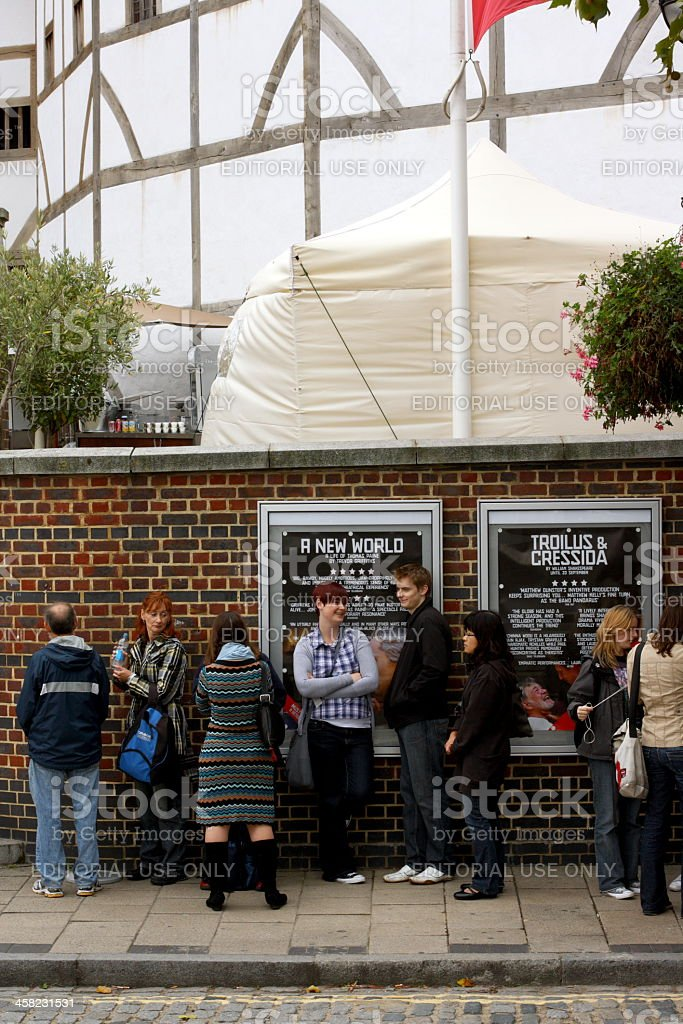 Theatergoers at The Globe Theatre royalty-free stock photo
