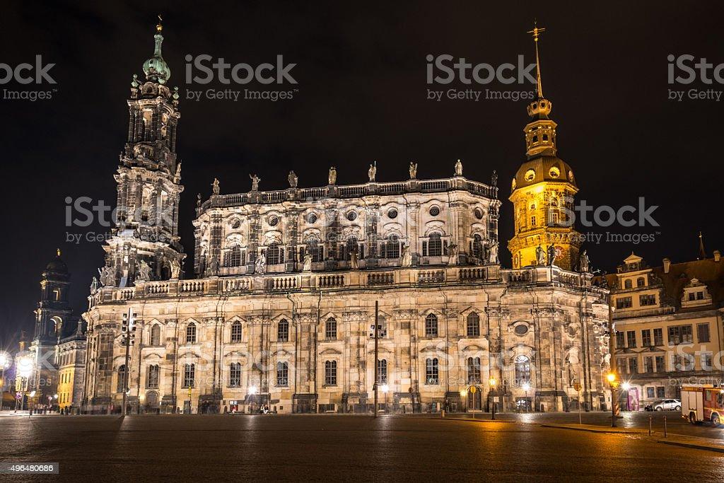 Theaterplatz in Dresden with Hofkirche at night stock photo