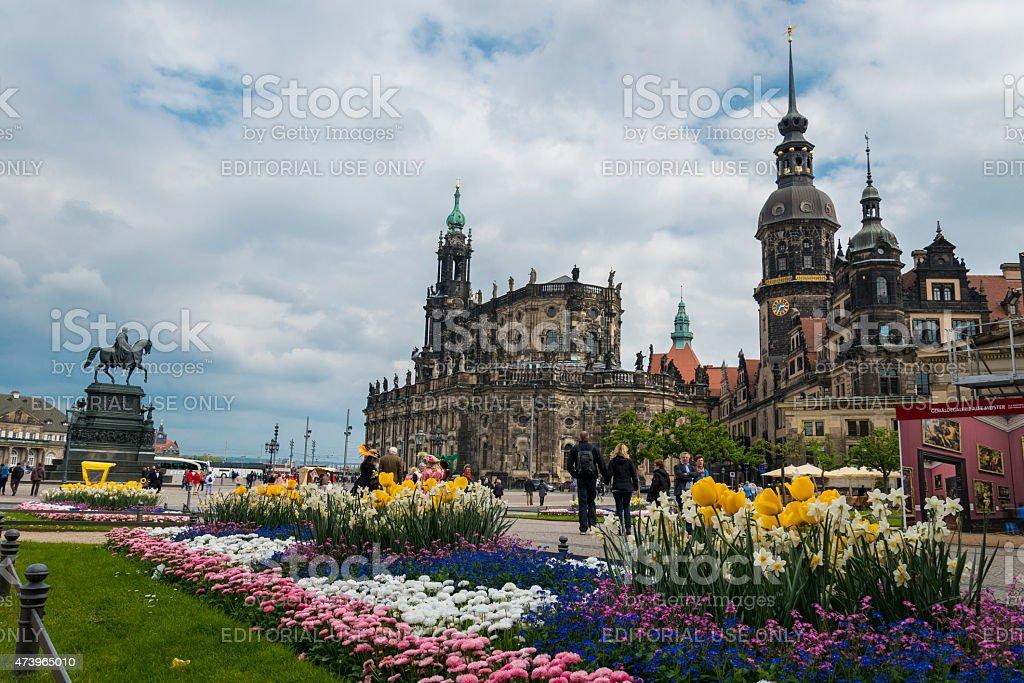 Theaterplatz in Dresden with Hofkirche stock photo