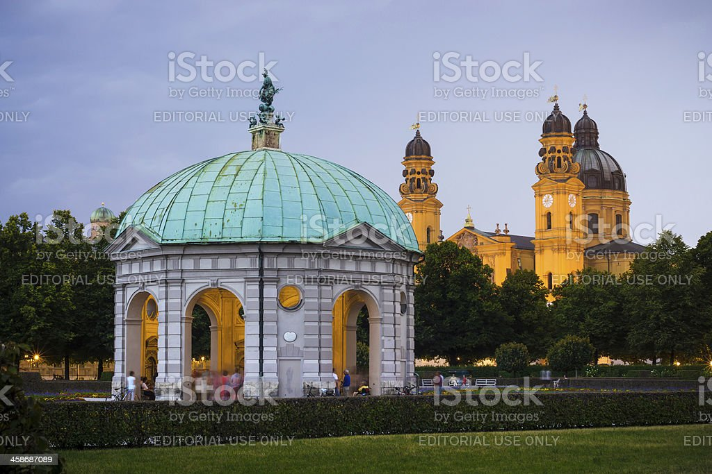 Theatine Church and Diana Pavilion at Hofgarten in Munich, Germany stock photo
