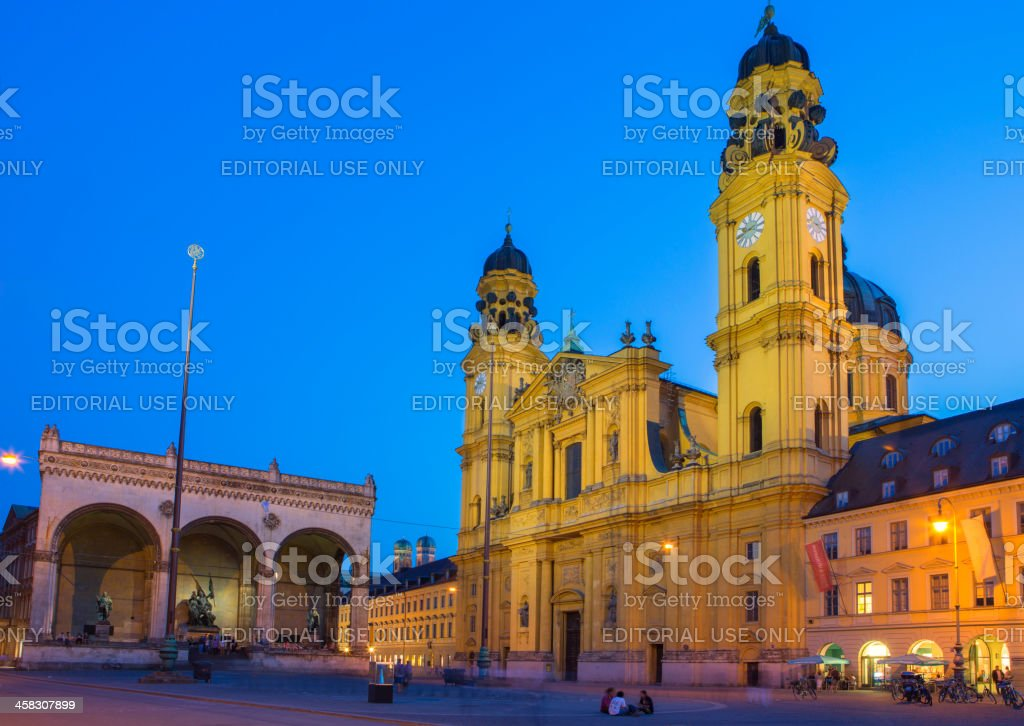 Theatine Church at night, Munich, Germany stock photo