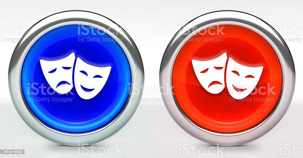 Theatre Comdey & Tragedy Icon on Button with Metallic Rim stock photo