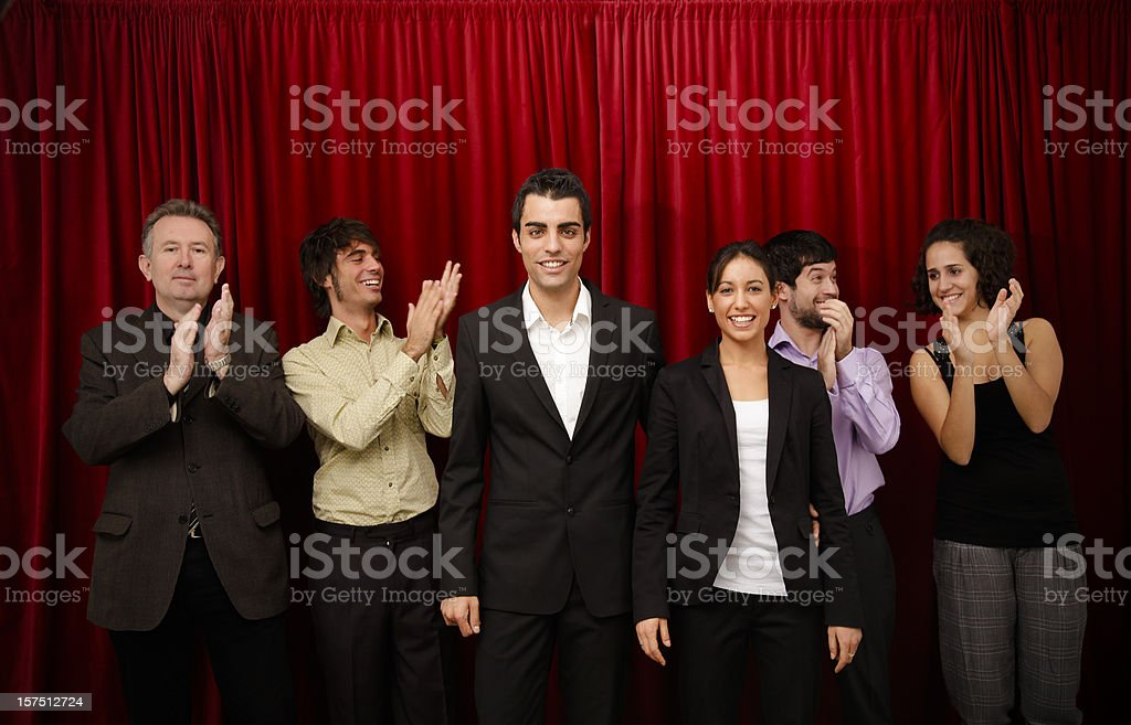 Theatre company on stage stock photo
