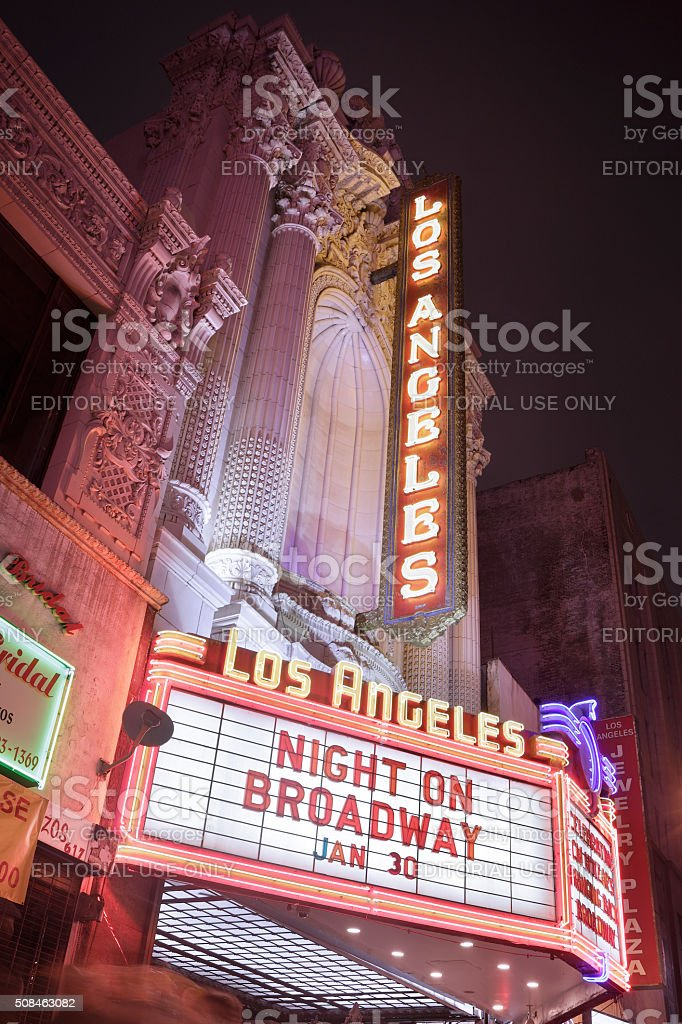 Theatre Facade and Marquee - Los Angeles stock photo