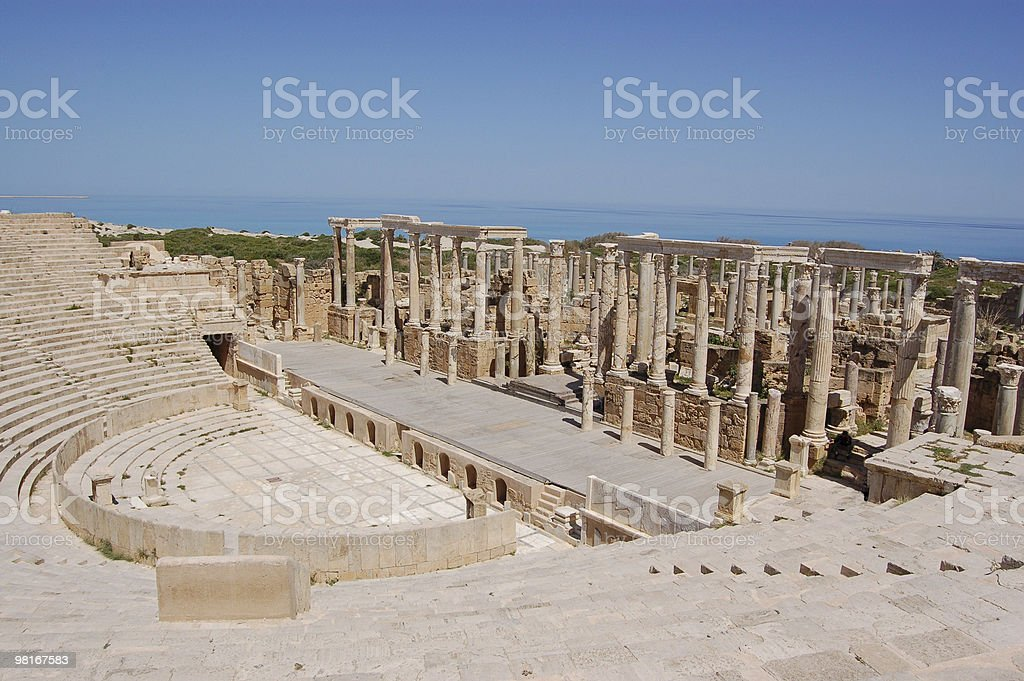 Theatre, Leptis Magna, Libya stock photo