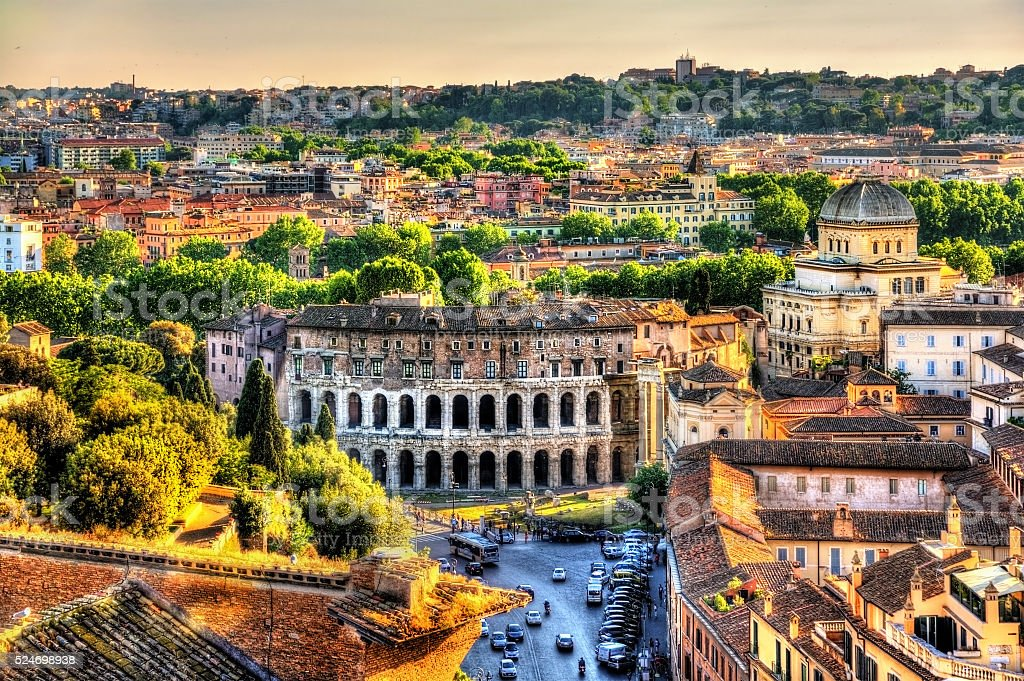 Theatre Marcellus, view from Capitoline Hill stock photo
