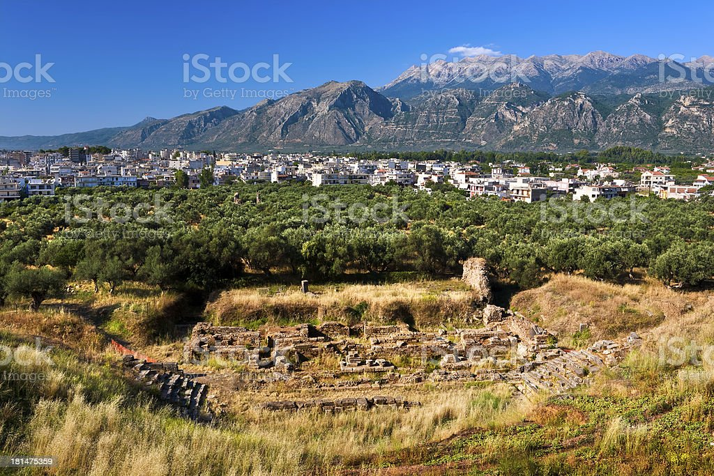 Theatre of ancient Sparta, Greece stock photo