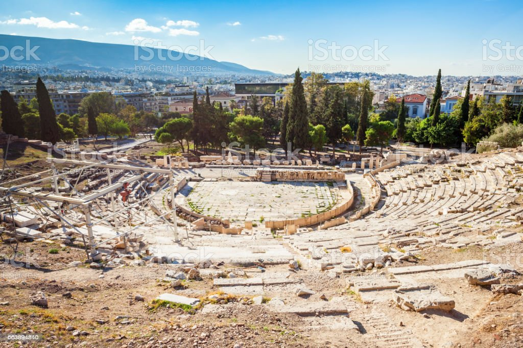 Theatre of Dionysus, Acropolis stock photo