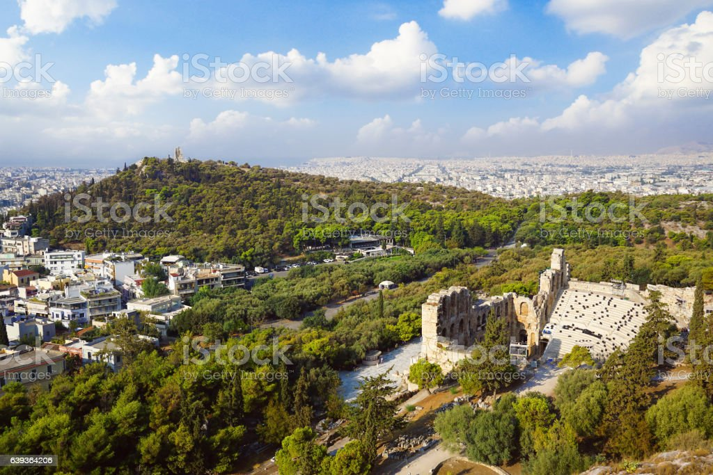 Theatre of Dionysus in Athens, view from the Acropolis. stock photo