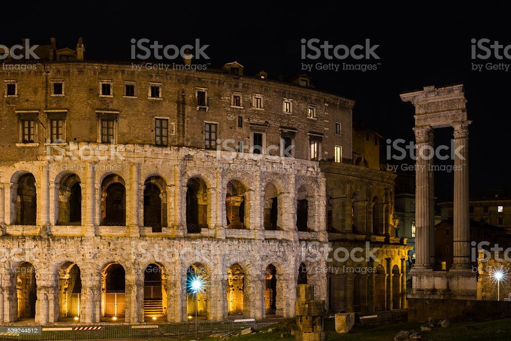 Theatre of Marcellus at night stock photo