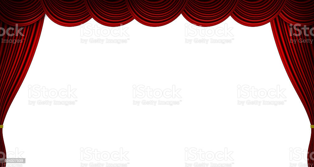 Theatre - Red Curtains Isolated on white vector art illustration