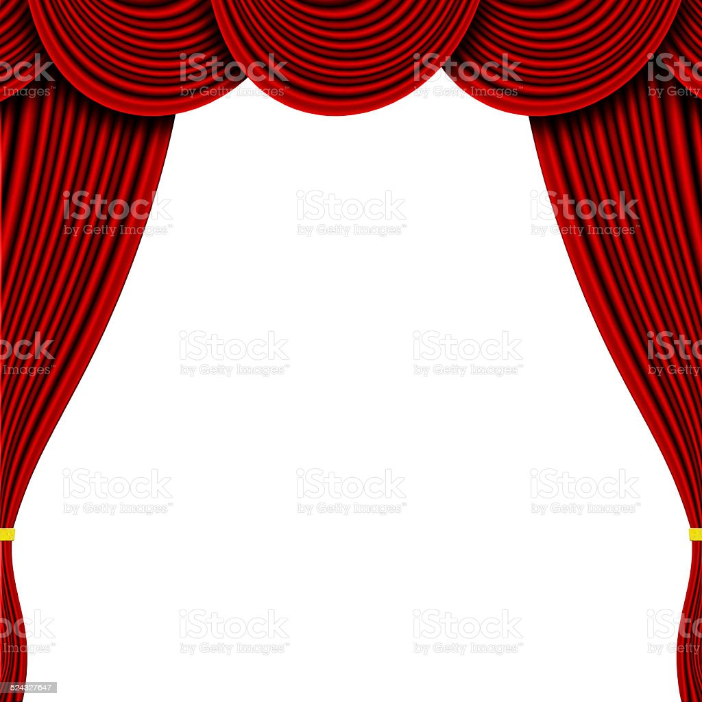 Theatre - Red Curtains Isolated on white stock photo
