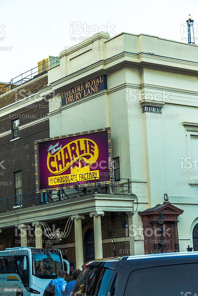Theatre Royal Drury Lane  with  Charlie Chocolate Factory displays stock photo