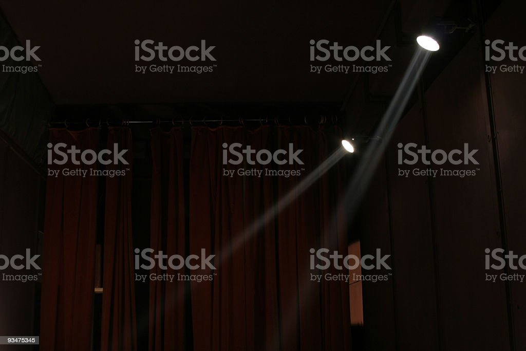 Theatre spotlights and curtains royalty-free stock photo