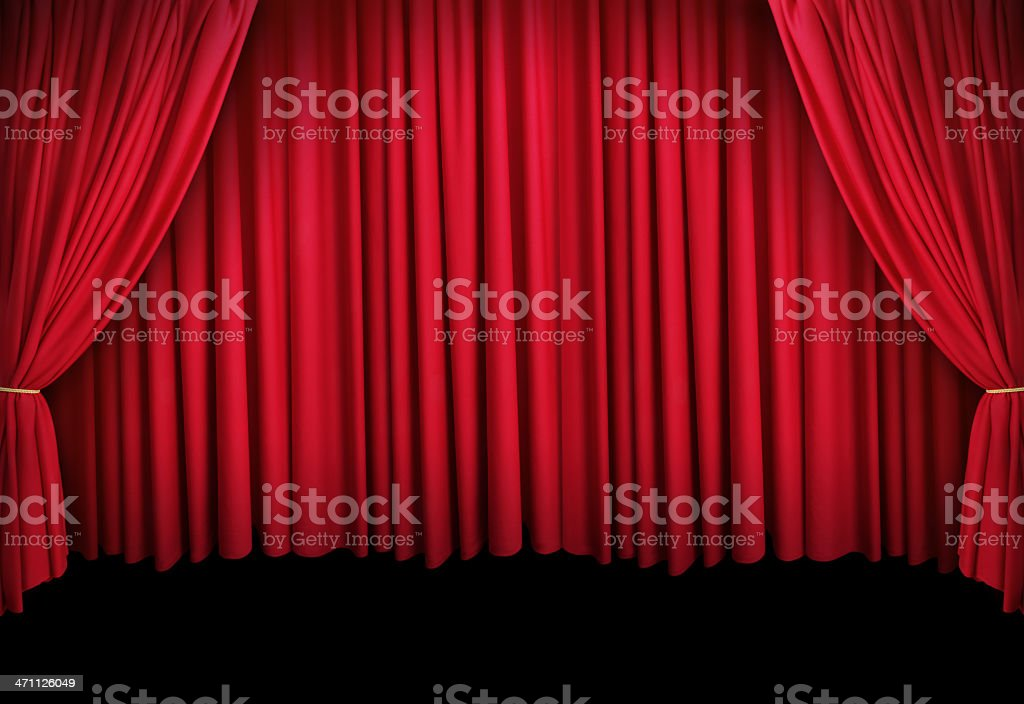 Theatre Stage with Red Curtain royalty-free stock photo