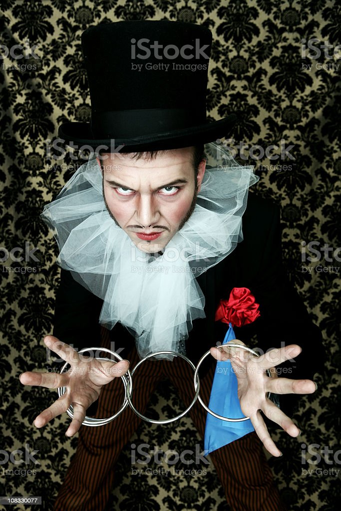 Theatrical magician ring trick stock photo