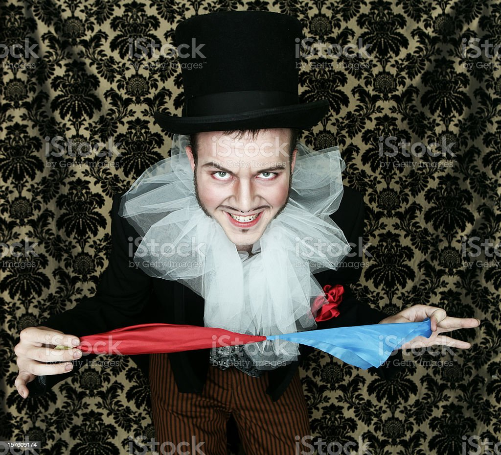 Theatrical magician with scarves stock photo