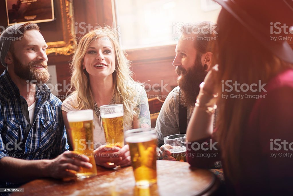 Their favourite bar with the best beer stock photo