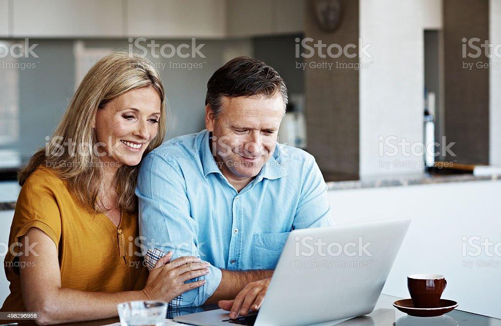 Their finances look good! stock photo