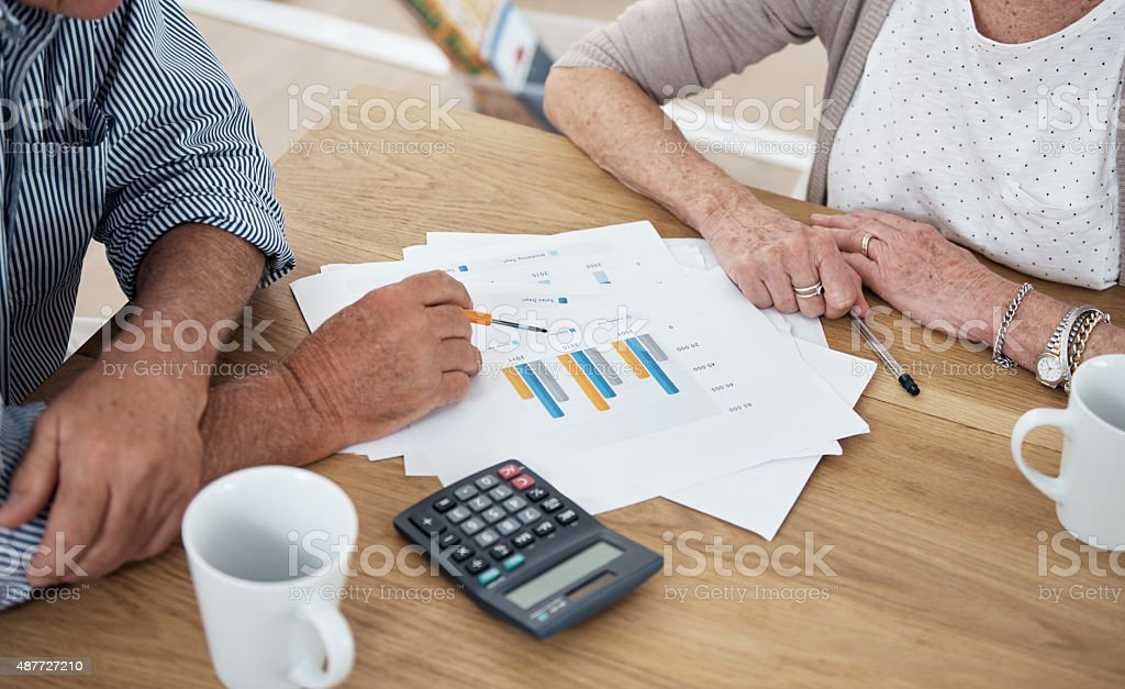 Their investments are looking great! stock photo