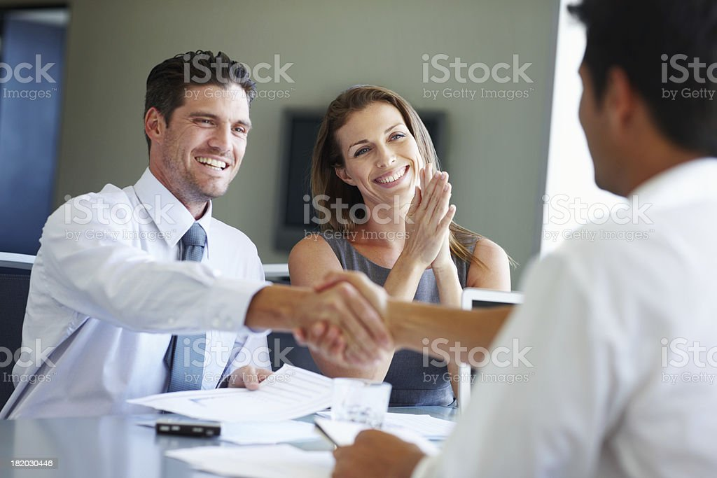 Their new venture has funding! stock photo