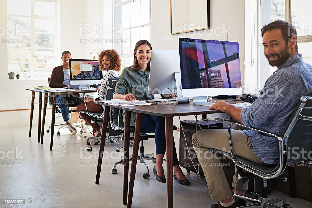 Their office is wired for success stock photo