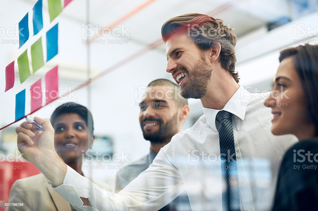 Their plans for success is already succeeding stock photo