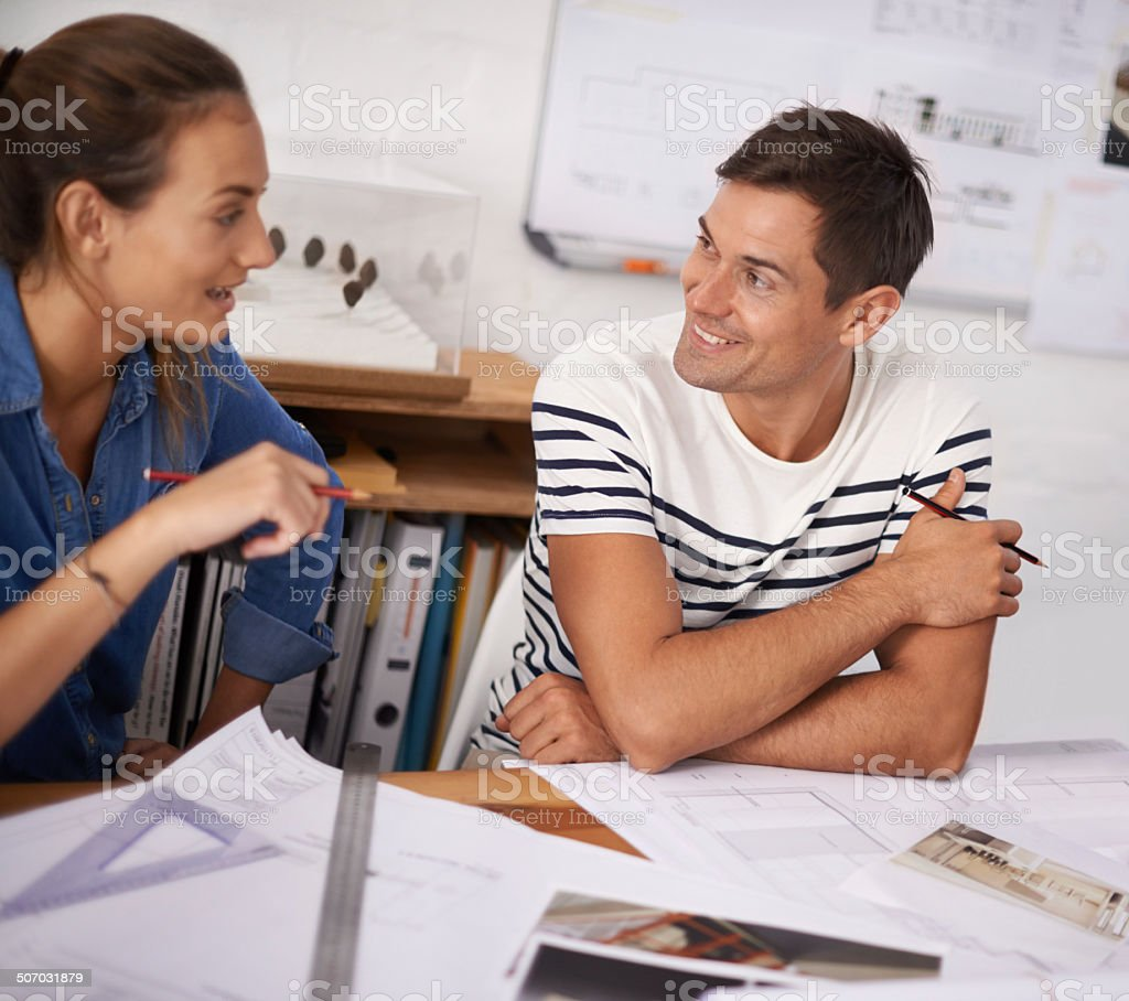 Their project is coming along nicely royalty-free stock photo