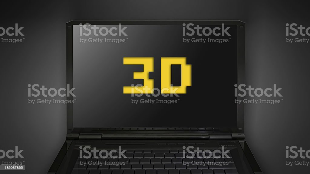 3D theme is display on laptop screen stock photo