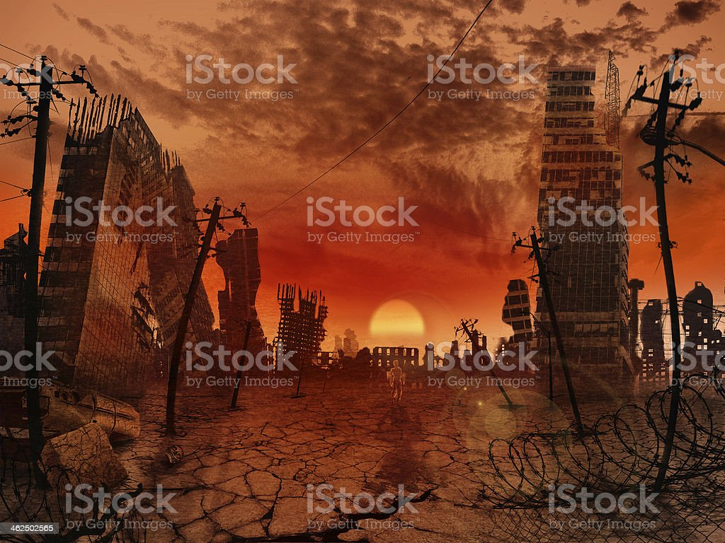 Theme of the apocalypse stock photo