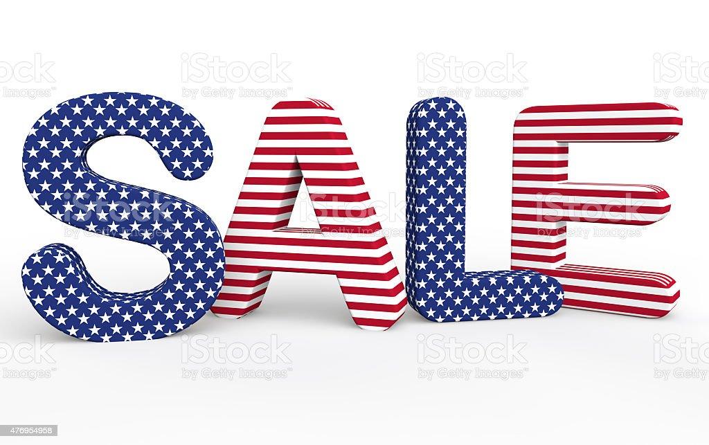 USA themed 3d sale text stock photo