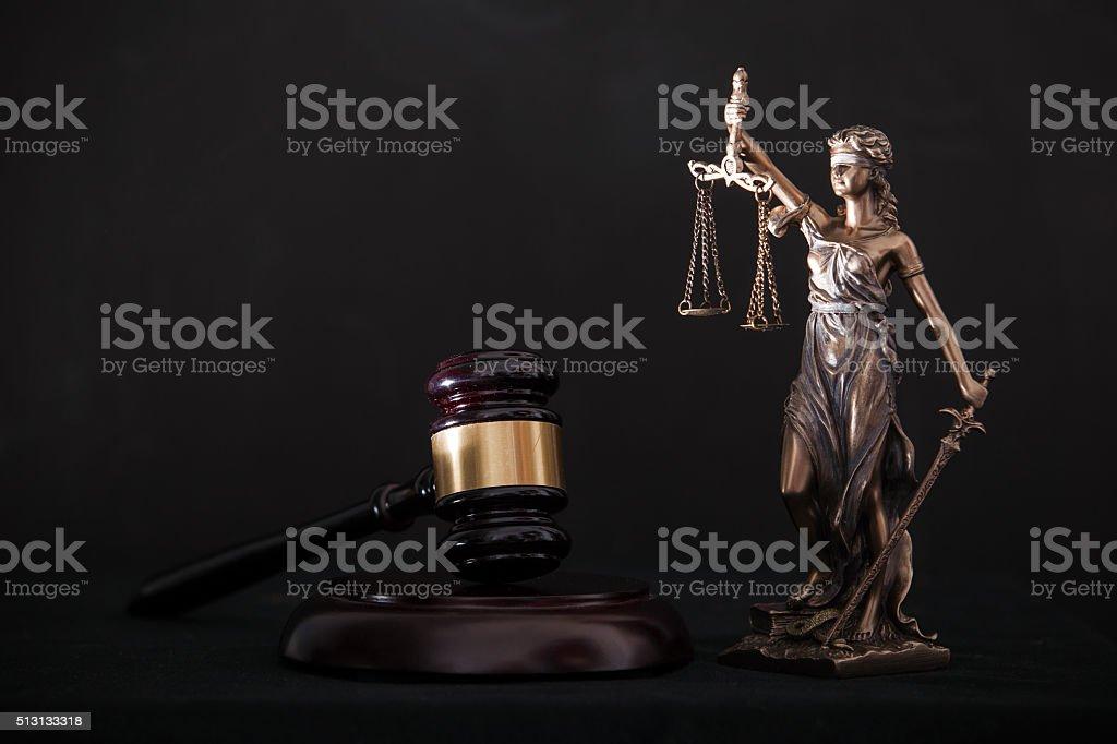 Themis and gavel stock photo