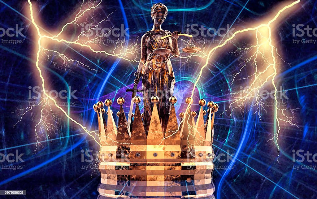 Themis goddess of justice with golden crown 3d rendering stock photo
