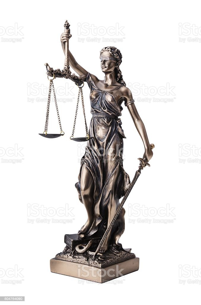 Themis with scale and sword isolated on white stock photo