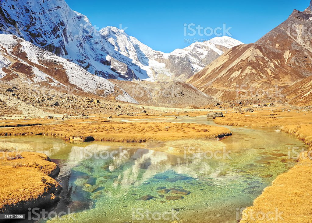 Thengbo Valley looking towards Tashi Lapcha and Rolwaling, Khumbu, Nepal stock photo