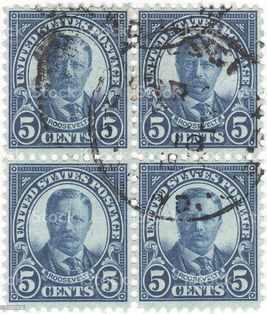 Theodore Roosevelt 1922 5 cent blue tone U.S. stamp stock photo