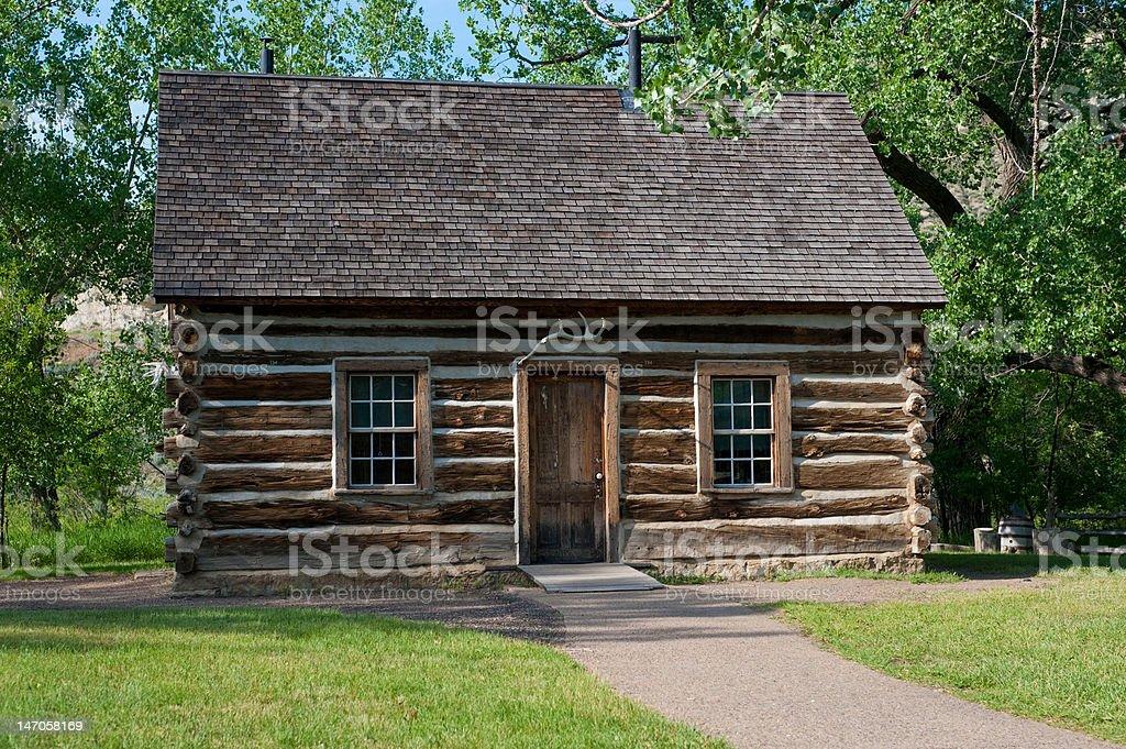 Theodore Roosevelt Historic Log Cabin stock photo