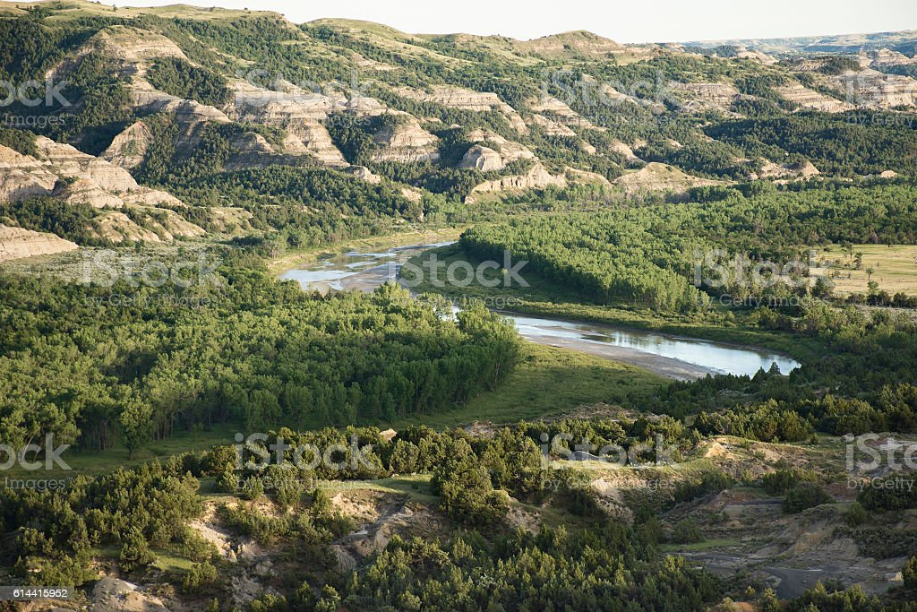 Theodore Roosevelt National Park - Oxbow Bend stock photo